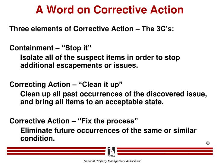 A Word on Corrective Action