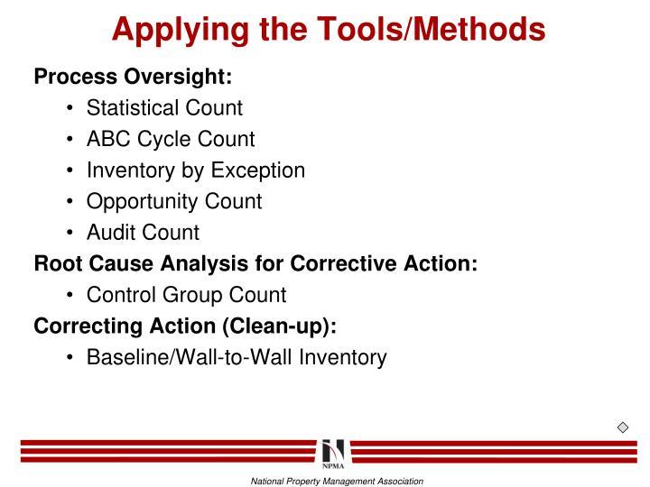 Applying the Tools/Methods