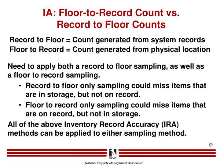 IA: Floor-to-Record Count vs.