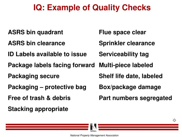 IQ: Example of Quality Checks