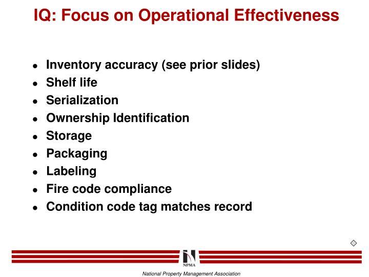 IQ: Focus on Operational Effectiveness