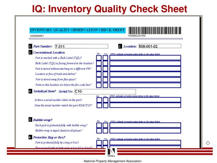 IQ: Inventory Quality Check Sheet