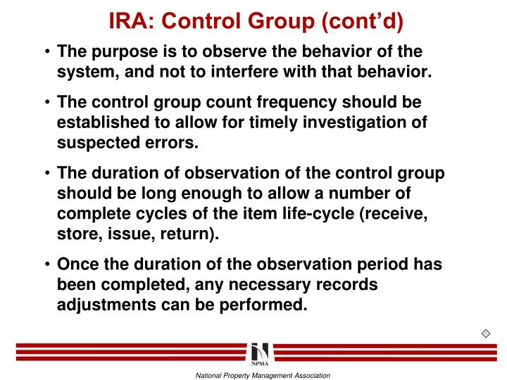 IRA: Control Group (cont'd)