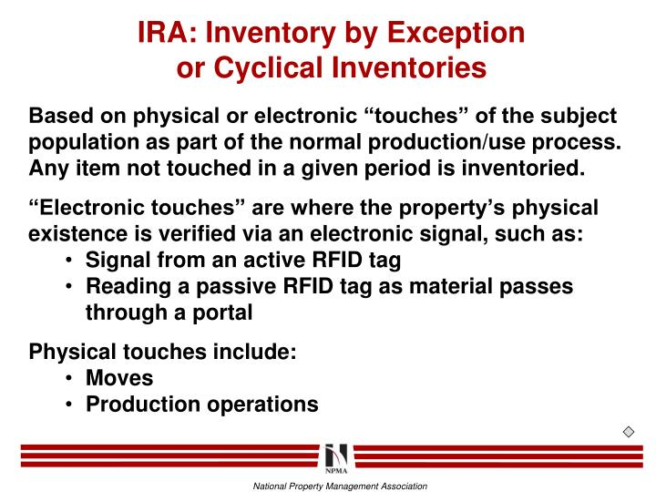 IRA: Inventory by Exception
