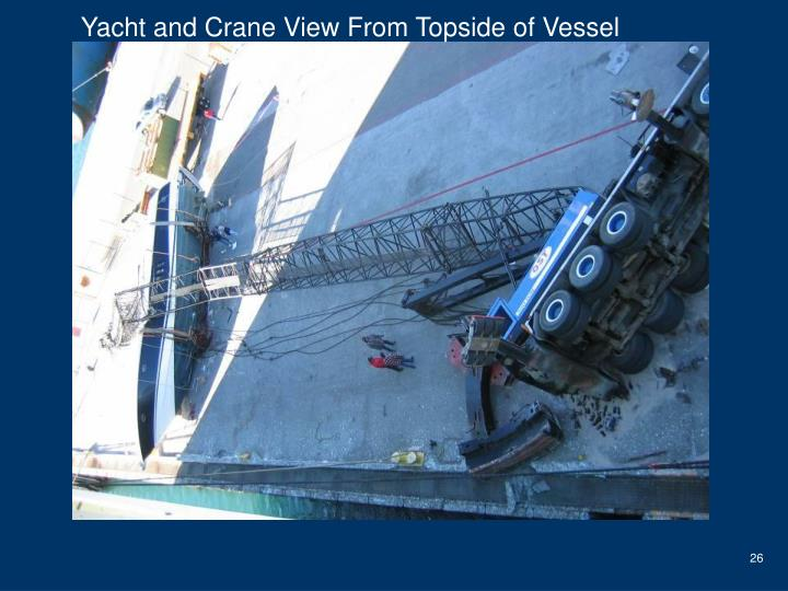 Yacht and Crane View From Topside of Vessel