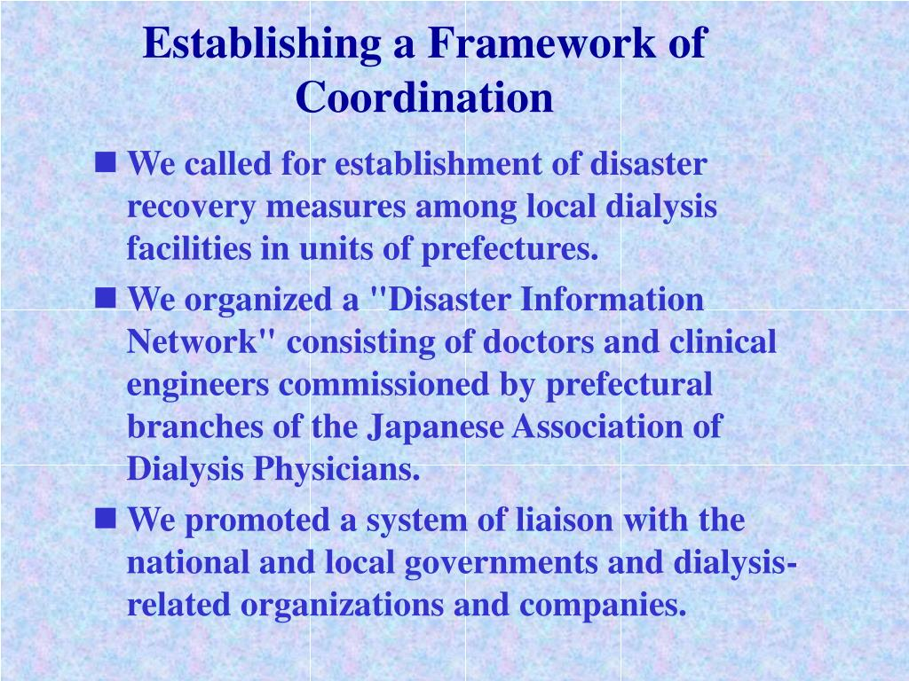 Establishing a Framework of Coordination