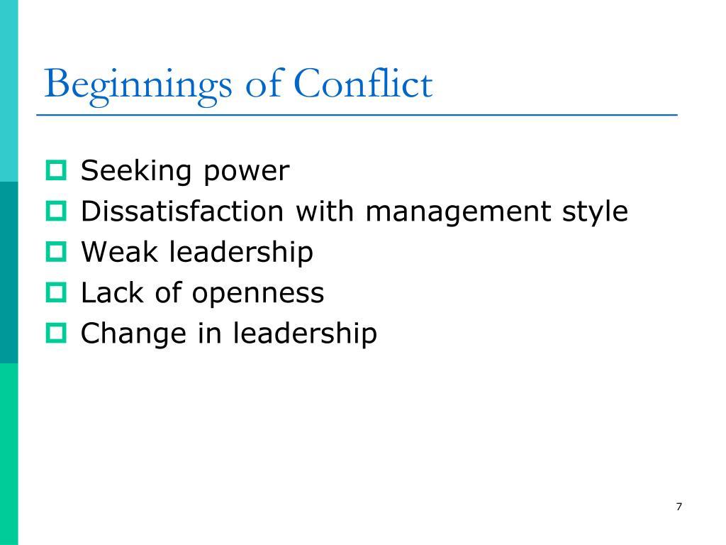 Beginnings of Conflict