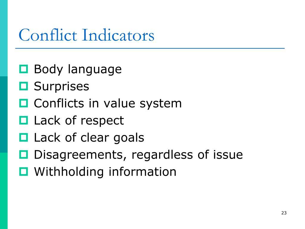 Conflict Indicators