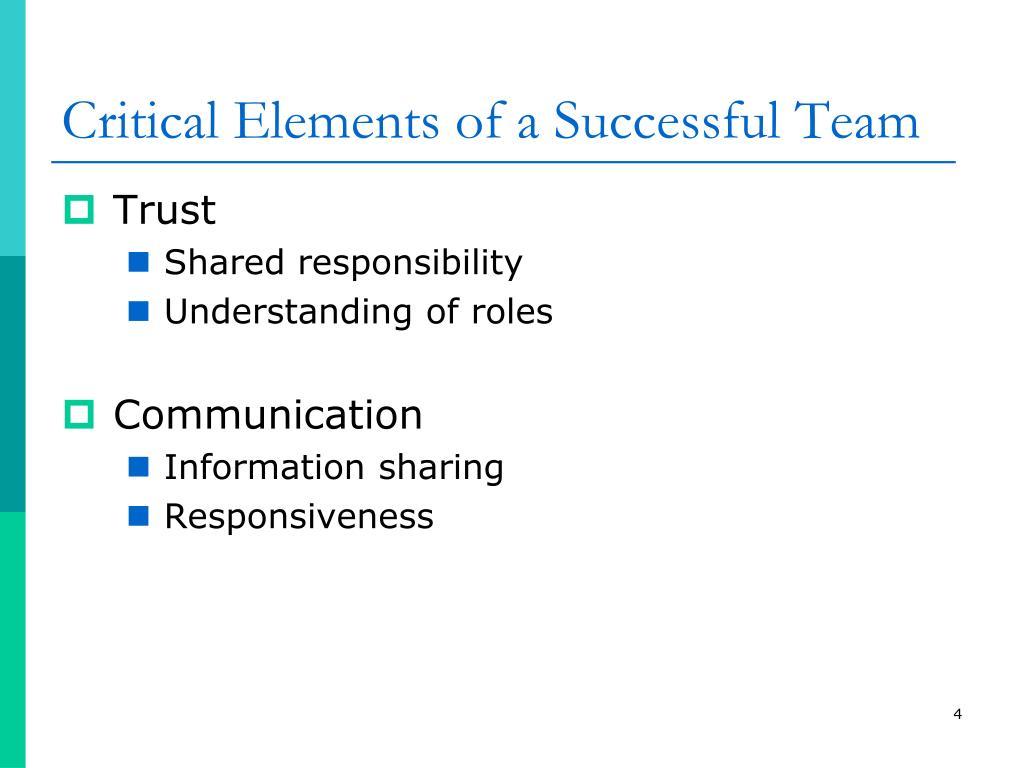 Critical Elements of a Successful Team