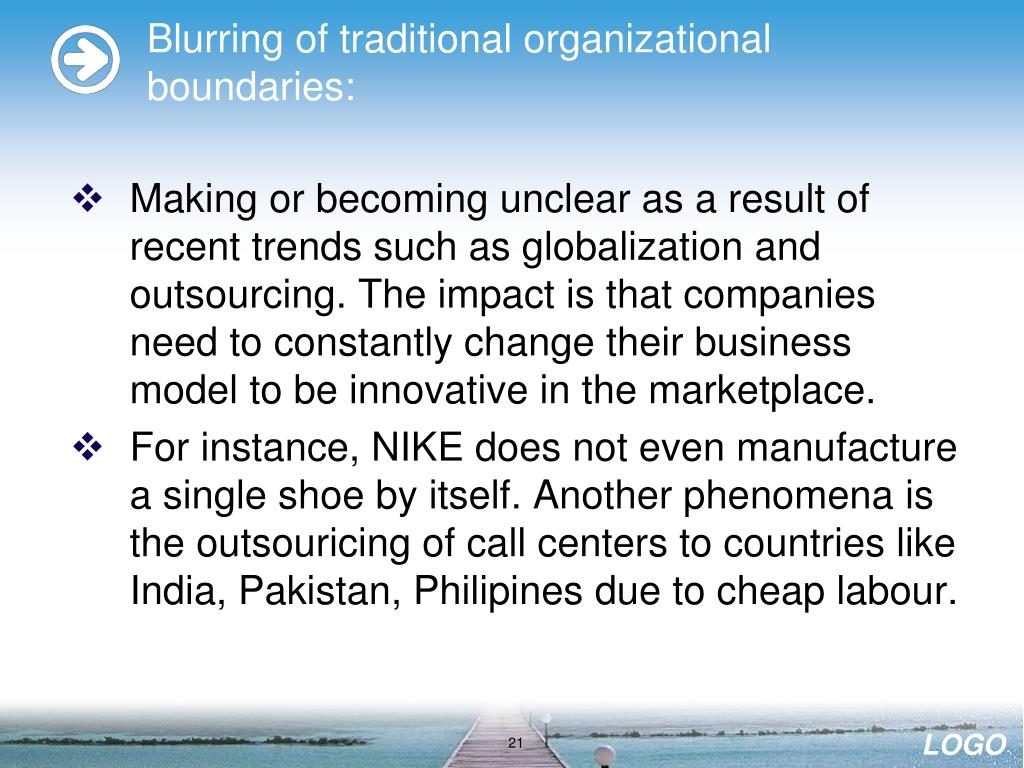 Blurring of traditional organizational boundaries: