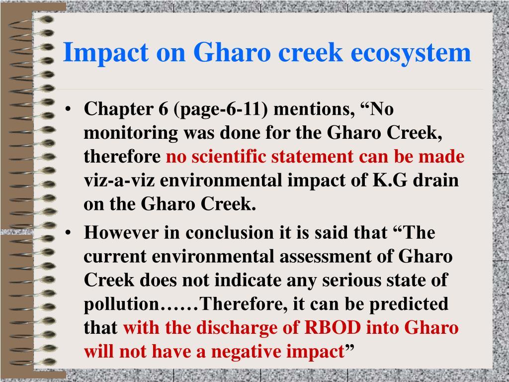 Impact on Gharo creek ecosystem