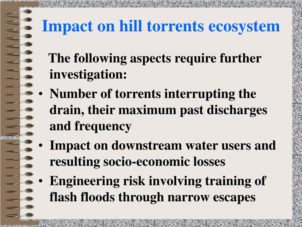 Impact on hill torrents ecosystem