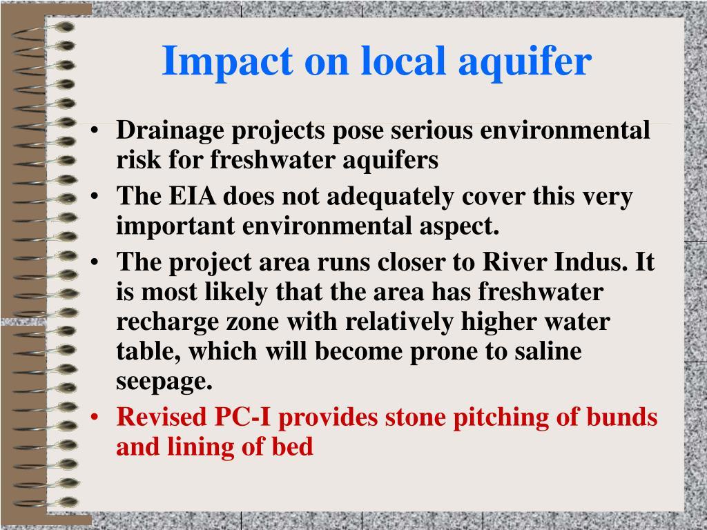 Impact on local aquifer