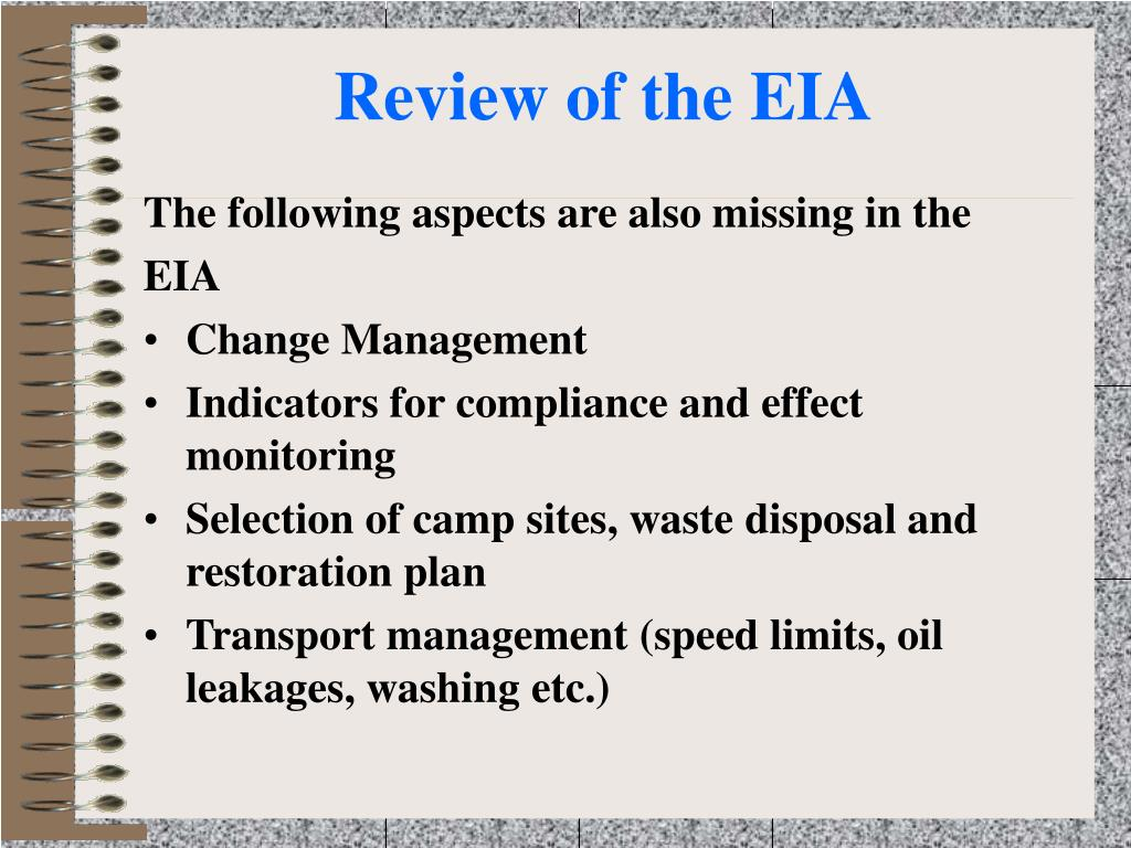 Review of the EIA
