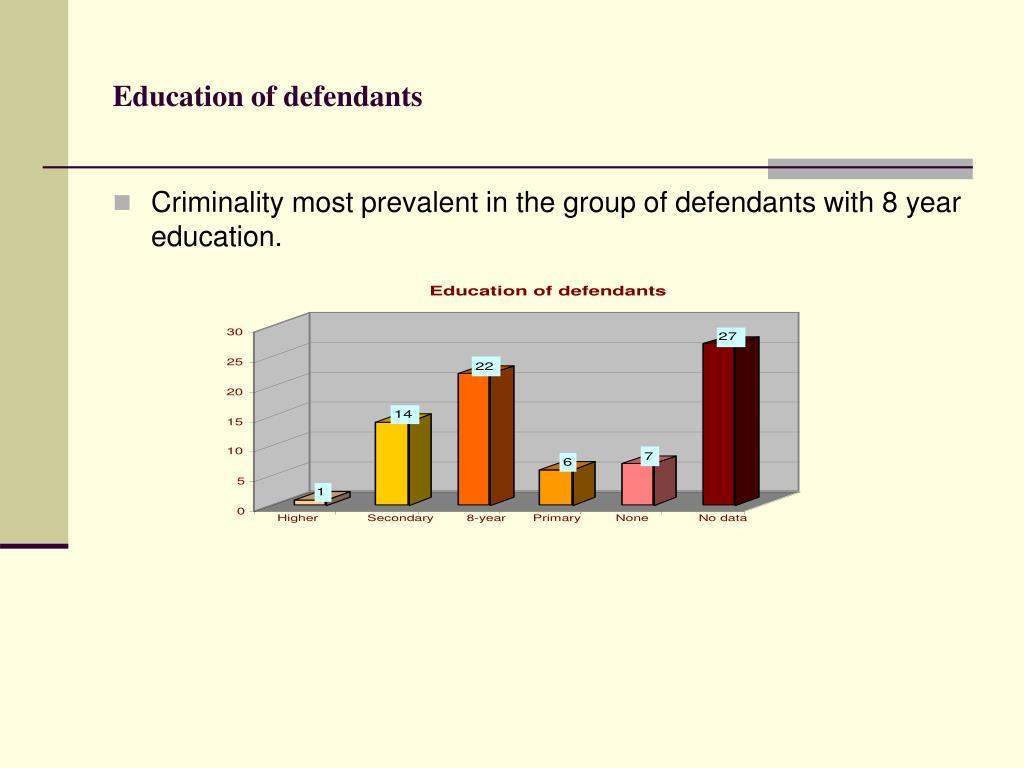 Education of defendants
