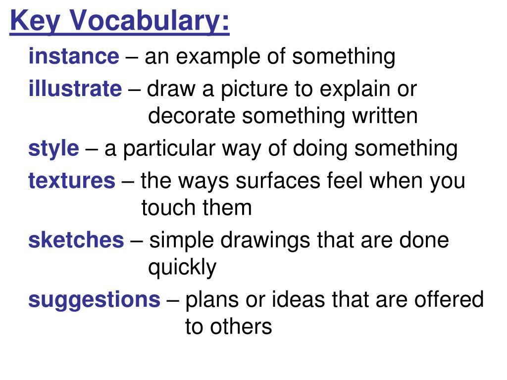 Key Vocabulary: