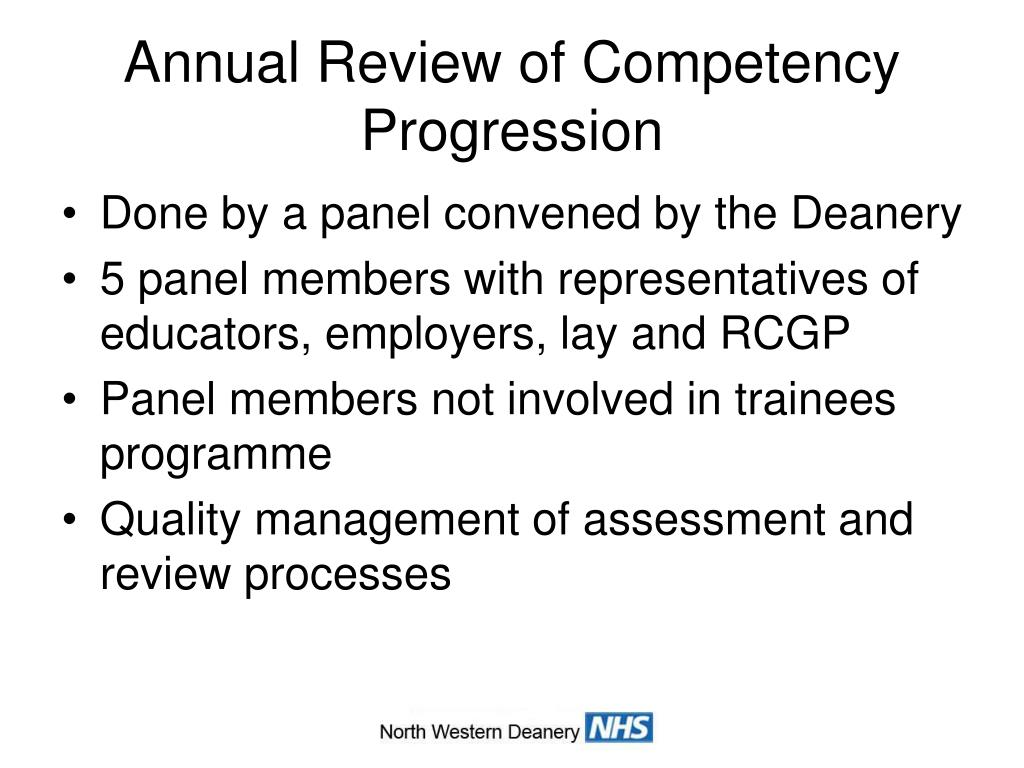 Annual Review of Competency Progression