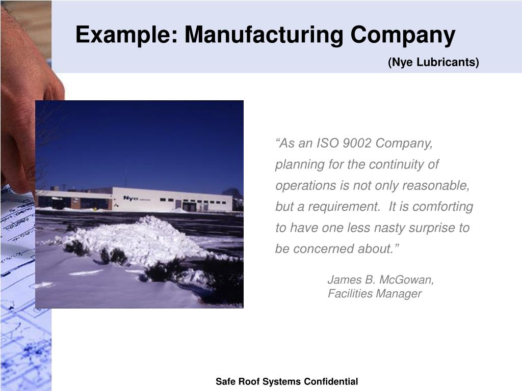 Example: Manufacturing Company