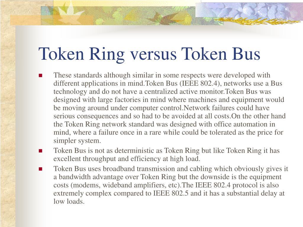 Token Ring versus Token Bus