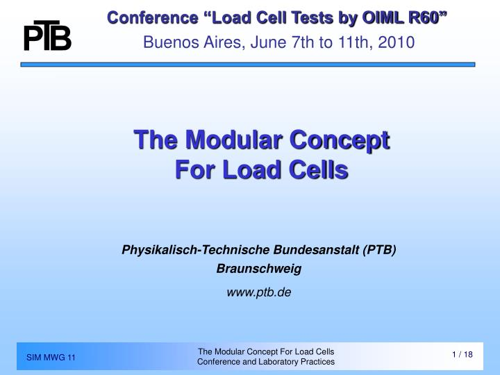 Conference load cell tests by oiml r60 buenos aires june 7th to 11th 2010