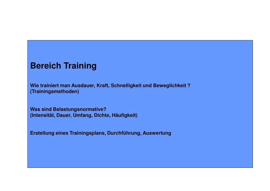 Bereich Training