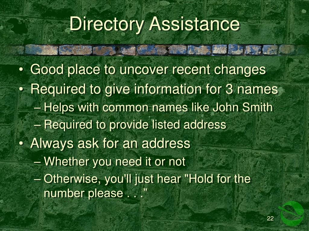 Directory Assistance