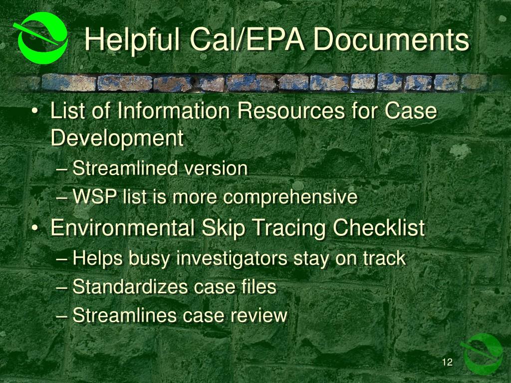 Helpful Cal/EPA Documents