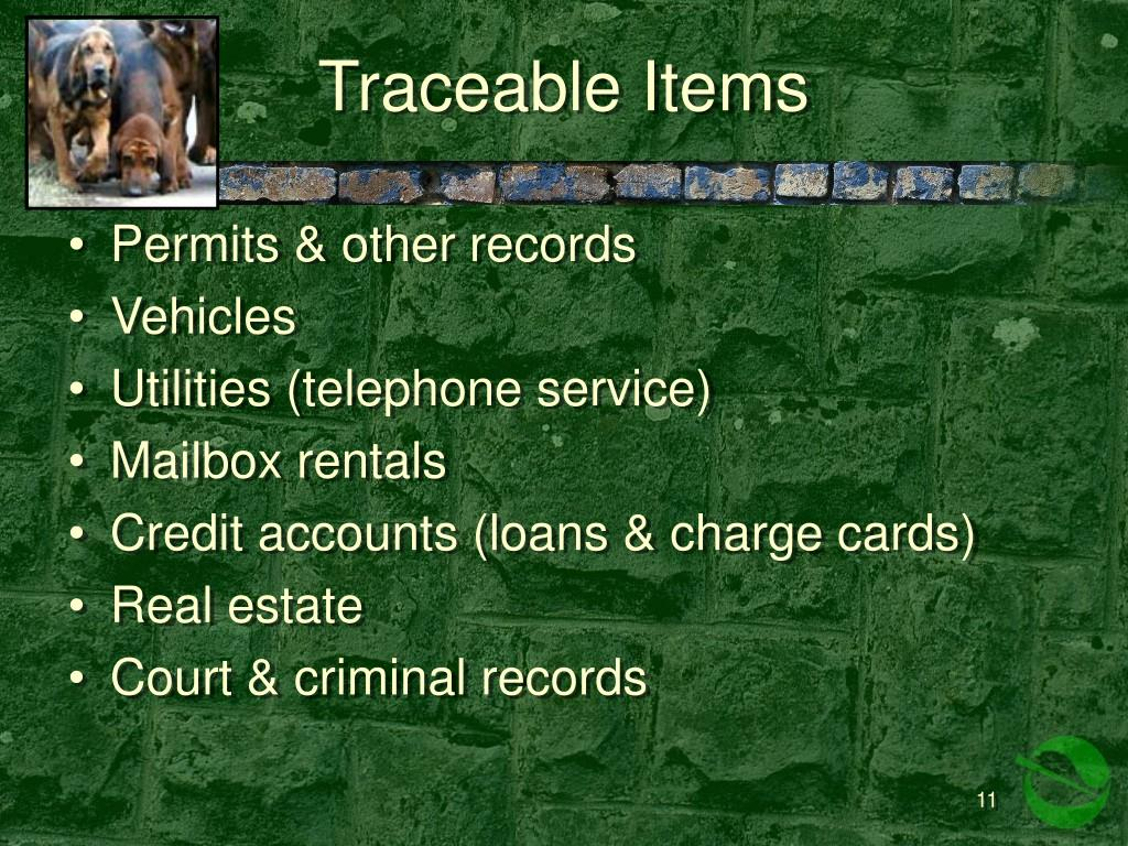 Traceable Items
