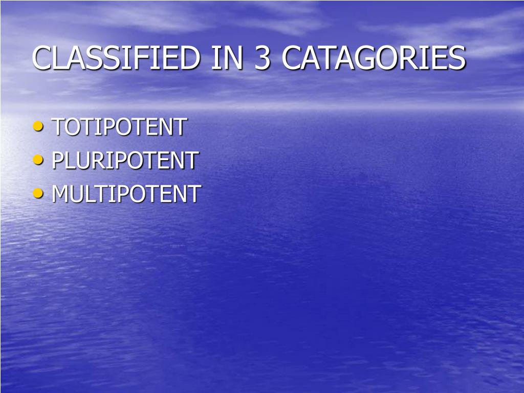 CLASSIFIED IN 3 CATAGORIES