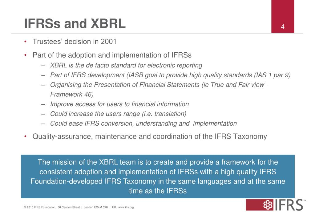 IFRSs and XBRL