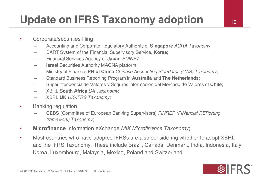 Update on IFRS Taxonomy adoption