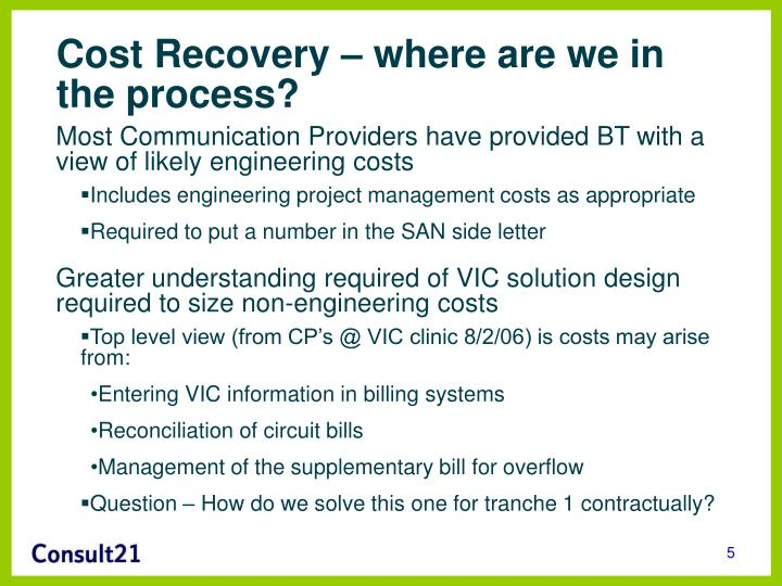 Cost Recovery – where are we in the process?