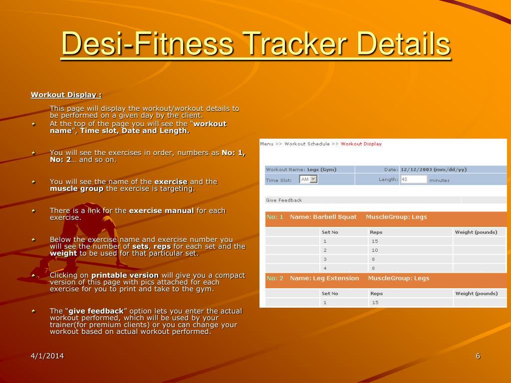 Desi-Fitness Tracker Details