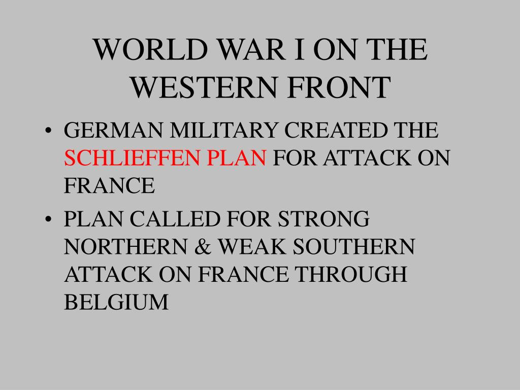 WORLD WAR I ON THE WESTERN FRONT