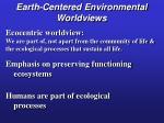 earth centered environmental worldviews