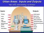 urban areas inputs and outputs no self sustaining systems