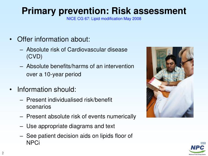 Primary prevention risk assessment nice cg 67 lipid modification may 2008