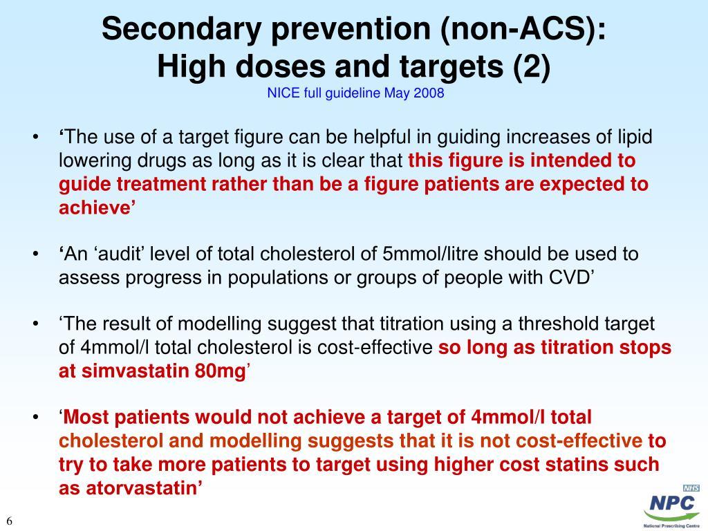 Secondary prevention (non-ACS):