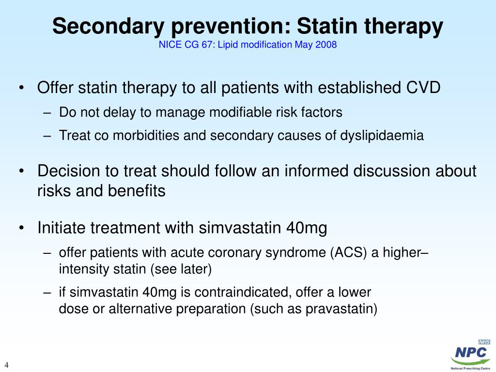 Secondary prevention: Statin therapy