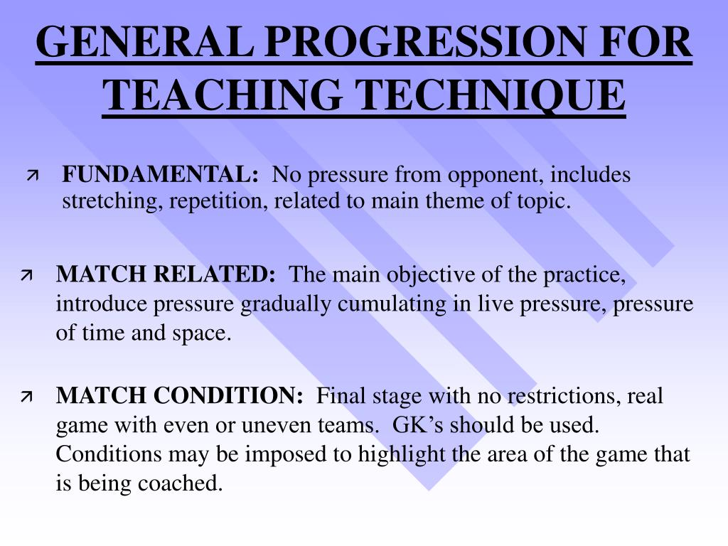 GENERAL PROGRESSION FOR TEACHING TECHNIQUE