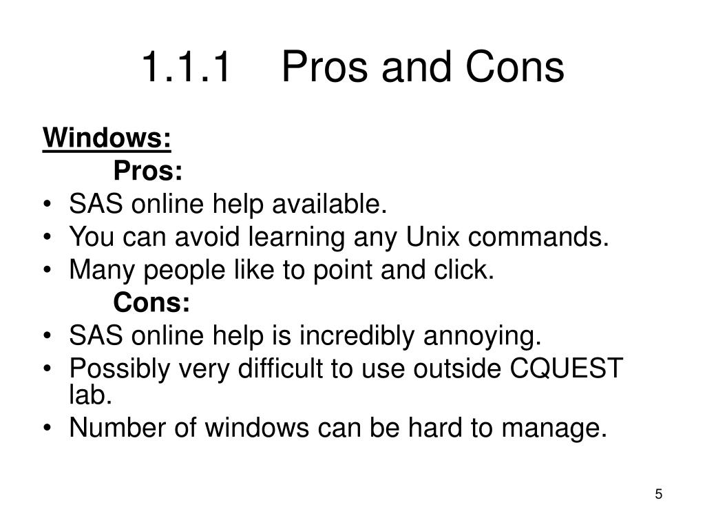 1.1.1Pros and Cons