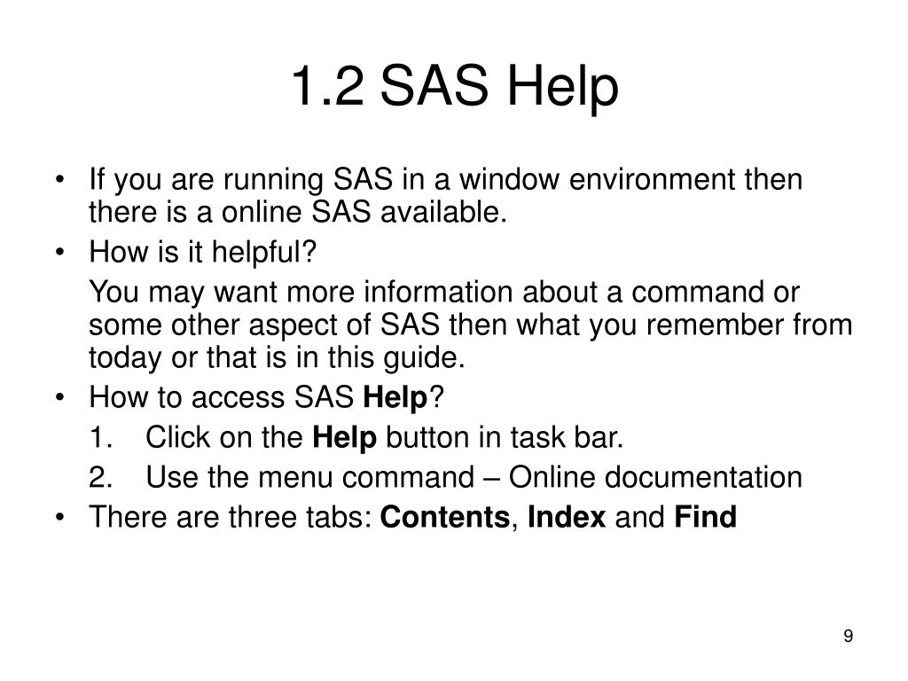 1.2SAS Help