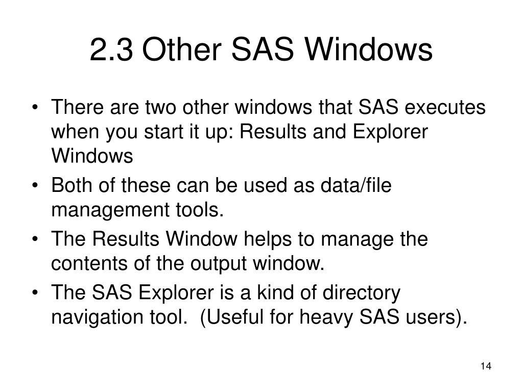 2.3Other SAS Windows