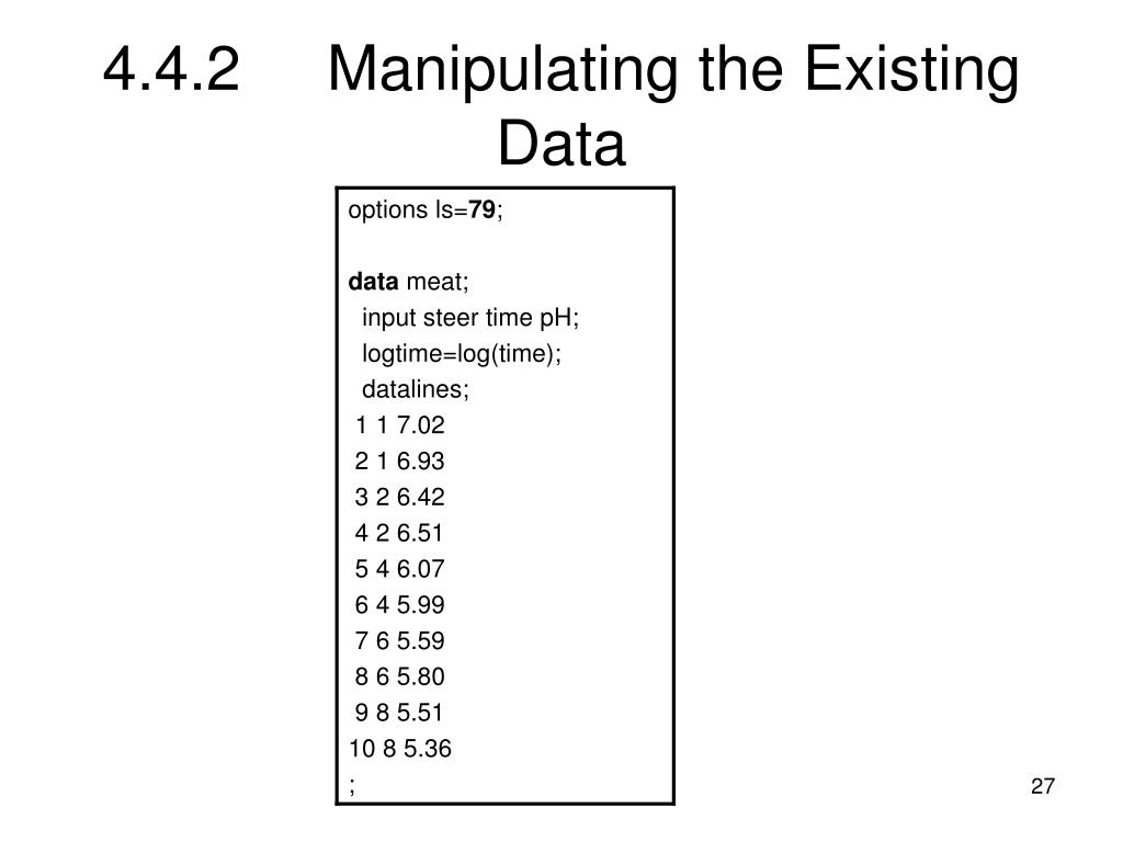 4.4.2Manipulating the Existing Data