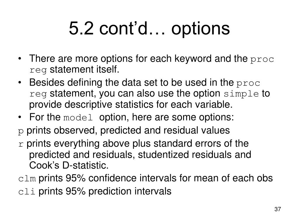 5.2 cont'd… options