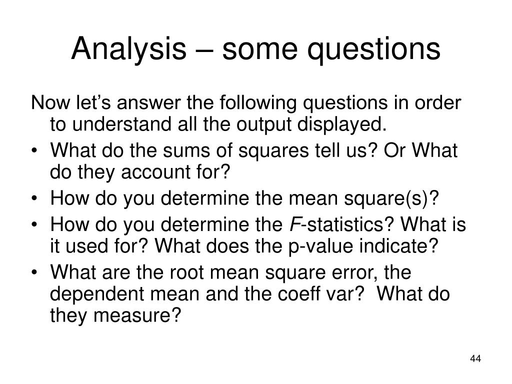 Analysis – some questions