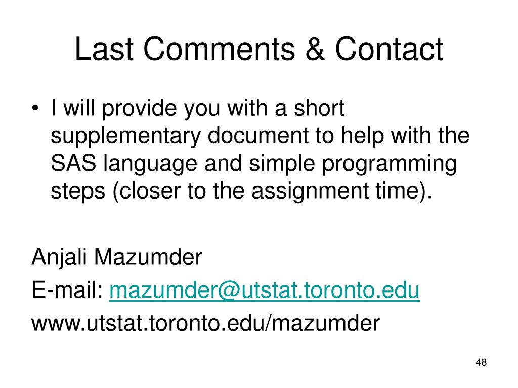 Last Comments & Contact