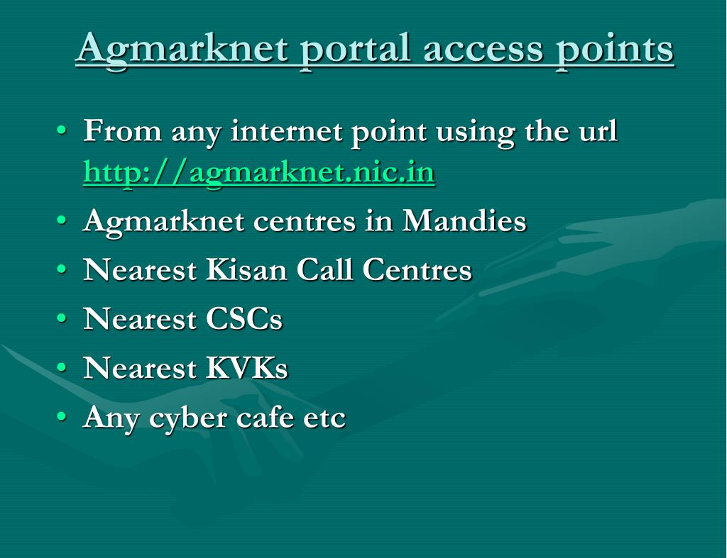 Agmarknet portal access points