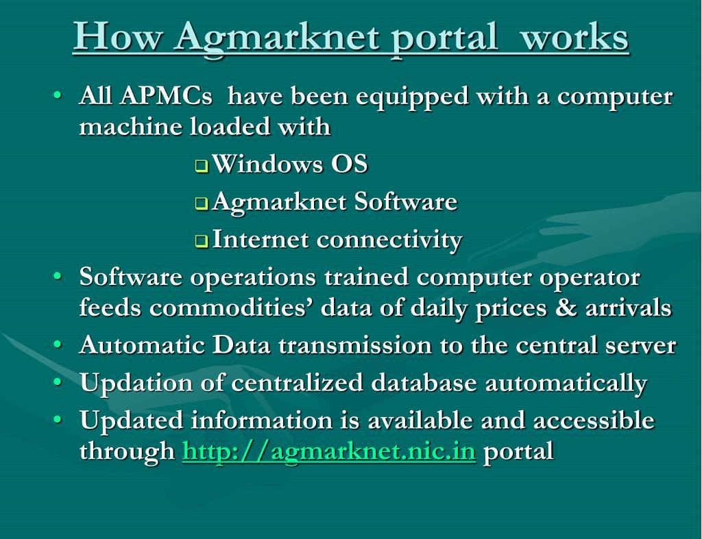 How Agmarknet portal  works