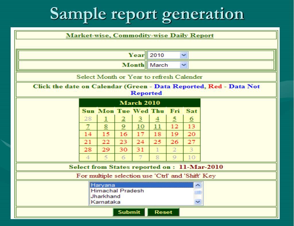 Sample report generation